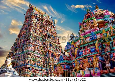 Beautiful view of colorful gopura in the Hindu Kapaleeshwarar Temple,chennai, Tamil Nadu, South India Royalty-Free Stock Photo #1187917522