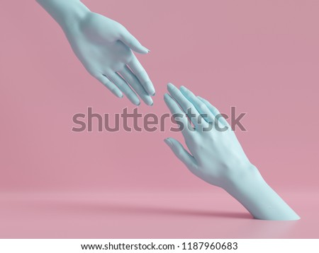 3d render, female hands isolated, minimal fashion background, mannequin body parts, helping hands, partnership concept, pink blue pastel colors