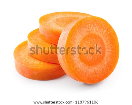 Carrot slices. Carrots. Perfectly retouched carrot slices isolated on white. Full depth of field. #1187961106