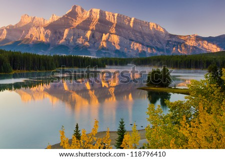 Cascade Mountain reflecting over Two Jack Lake in Banff National Park #118796410