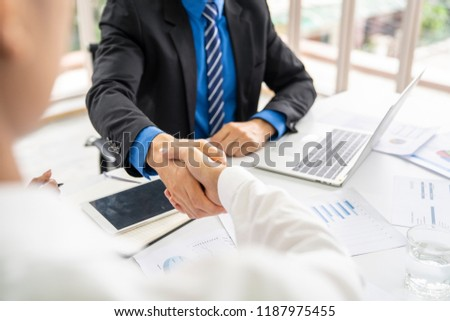Entrepreneurs and business people conference in modern meeting room,shaking hand for success business,business concept. #1187975455
