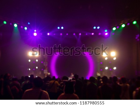 Bright colorful stage lights of blur background, Bokeh concert light #1187980555