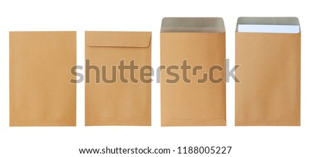 Brown envelope front and back isolated on white background. Letter top view. Object with clipping path Royalty-Free Stock Photo #1188005227
