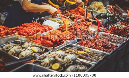 Korean street food at the Gwangjang market in Seoul #1188005788