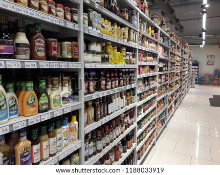 SHAH ALAM, MALAYSIA - SEPTEMBER 24, 2018: JAYA GROCER supermarket in Shah Alam, Selangor, Malaysia. Jaya Grocer is a Malaysian premium discount supermarket chain. #1188033919