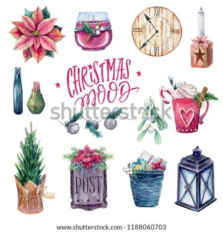 Watercolor cozy christmas set