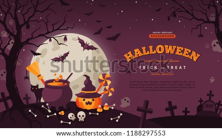 Halloween Banner with Orange Pumpkin and Cauldron. Vector Flat Illustration. Full Moon Night in Spooky Forest. Place for text