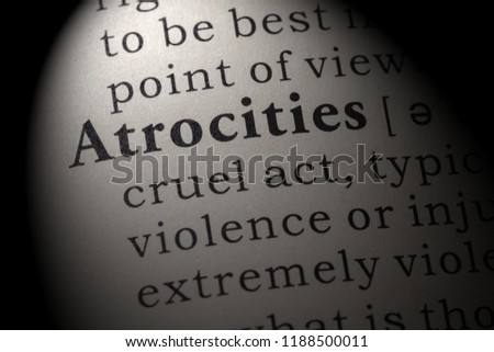 Fake Dictionary, Dictionary definition of the word atrocities. including key descriptive words. #1188500011