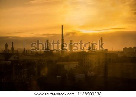 Baku city silhouette sunset landscape #1188509536