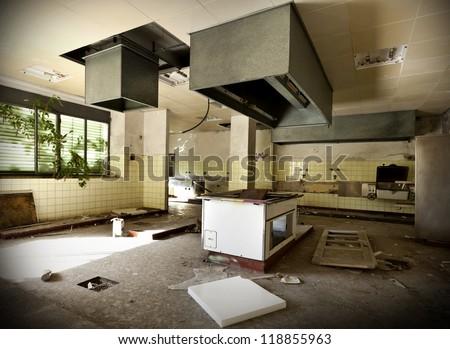 old kitchen destroyed, interior abandoned house #118855963