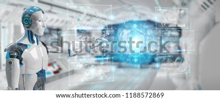 White male cyborg on blurred background using digital datas interface 3D rendering #1188572869