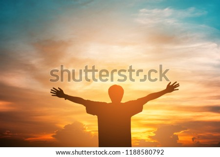 Human hands open palm up worship. Eucharist Therapy Bless God Helping Repent Catholic Easter Lent Mind Pray. Christian Religion concept background. fighting and victory for god #1188580792
