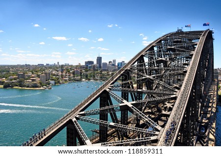 View of Sydney Harbour Bridge from the south-eastern pylon containing the tourist lookout towards North Sydney Royalty-Free Stock Photo #118859311