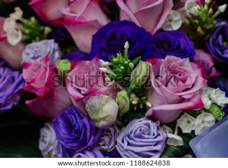 beautiful roses bouquet with pink and blue roses  #1188624838