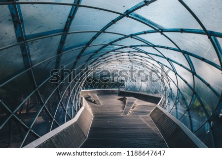Structural glass facade curving roof and the wooden pathway inside. Modern and Contemporary architectural fiction with glass steel column.Abstract architecture fragment.  Anyang art park in korea #1188647647