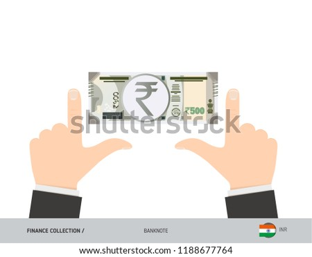 500 Indian Rupee Banknote. Business hands measuring banknote. Flat style vector illustration. Business finance concept. #1188677764