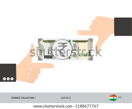 500 Indian Rupee Banknote. Business hands measuring banknote. Flat style vector illustration. Business finance concept. #1188677767