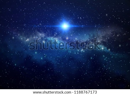 Bright blue star shining in deep space, stellar explosion behind star clusters. High resolution galaxy background. #1188767173