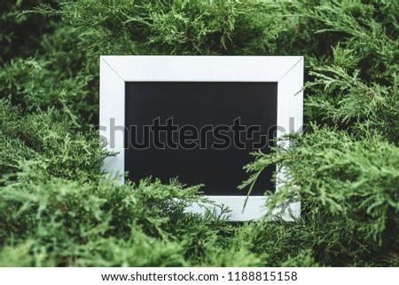 empty wooden board in green bushes #1188815158