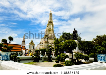 Bangkok,Thailand – September,18,2018 : This is Pagoda of Wat Arun is located on the Thon Buri bank of the Chao Phraya River ,Bangkok ,Thailand #1188836125
