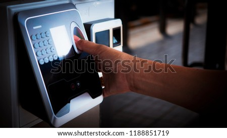 Finger print scan for enter security system with copyspace. #1188851719