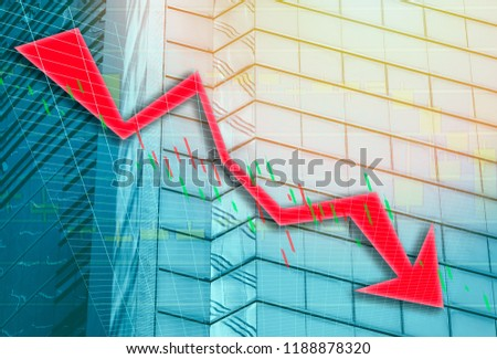 Hong Kong Office buildings with graph index of stock Market (red bear chart)  #1188878320