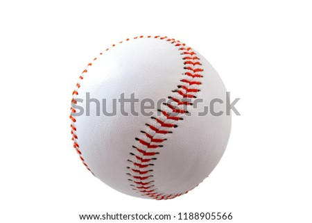 Sports equipment and american leisure activity concept with a white leather ball used in the game of baseball isolated on white background with a clip path cutout #1188905566