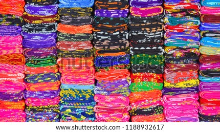 colorful textile stacked. abstract background. #1188932617