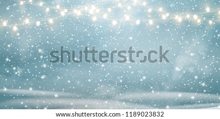 Christmas, Snowy  background with light garlands, falling snow, snowflakes,  snowdrift for winter and new year holidays. Holiday winter landscape. Vector. Royalty-Free Stock Photo #1189023832
