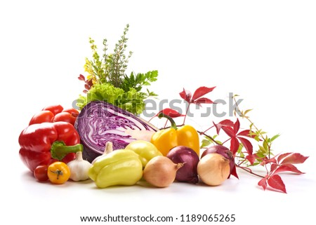Set of different fresh raw colorful vegetables, isolated on white background #1189065265
