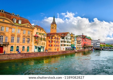 Beautiful river Limmat and city center of Zurich, Switzerland #1189082827