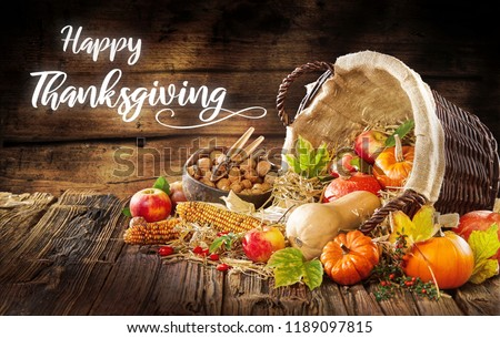 Modern Image of a Thanksgiving invitation. Beautiful fall and autumn decoration elements form thanksgiving I festivals. #1189097815