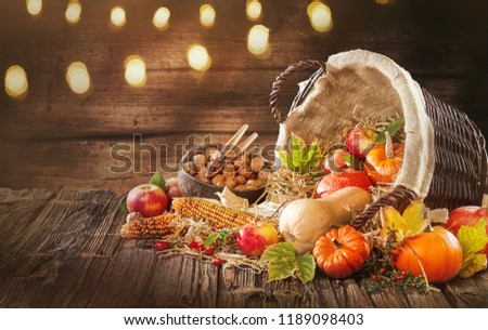 Good decorations for fall and autumn banners . Apple corn and pumpkins and beautiful atmospheric conceptual for Halloween or business advertising #1189098403