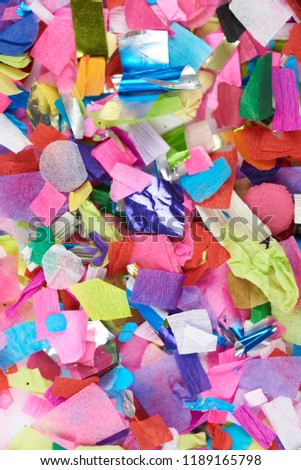 Close-up of colorful confetti paper pieces #1189165798