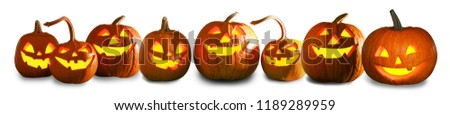Halloween pumpkin head jack lanterns on white background #1189289959
