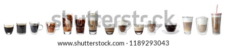 Set with different types of coffee drinks on white background #1189293043