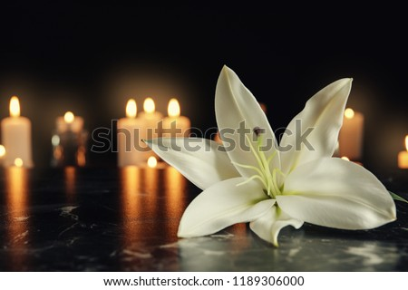 White lily and blurred burning candles on table in darkness, space for text. Funeral symbol #1189306000