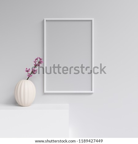 3D Rendering of Frame or Poster Mockup in Interior with Decorations #1189427449
