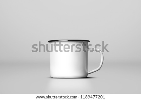 White blank enamel mug isolated on white background #1189477201