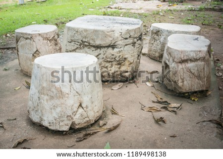 seat group natural stone consists of  table and stools. #1189498138
