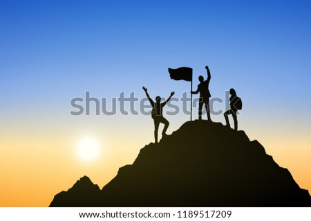 Silhouette group of people are celebrating success on top mountain, sky background. Business, successful, leadership, achievement, teamwork and goal concept. Vector illustration.