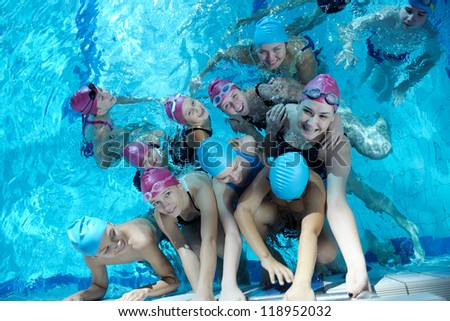 happy children kids group  at swimming pool class  learning to swim #118952032
