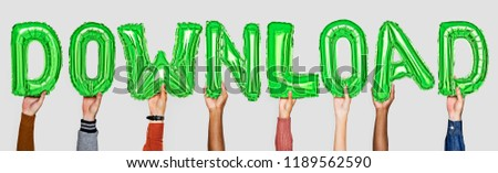 Green alphabet helium balloons forming the text download