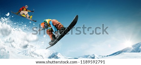Skiing. Snowboarding. Extreme winter sports. #1189592791