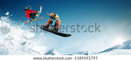 Skiing. Snowboarding. Extreme winter sports. #1189592797