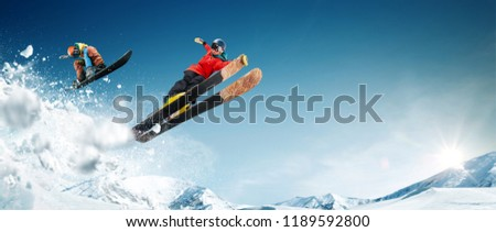 Skiing. Snowboarding. Extreme winter sports. #1189592800