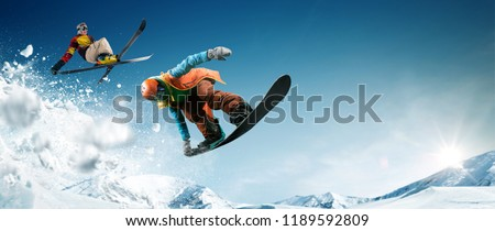 Skiing. Snowboarding. Extreme winter sports. #1189592809