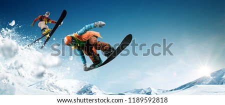 Skiing. Snowboarding. Extreme winter sports. #1189592818