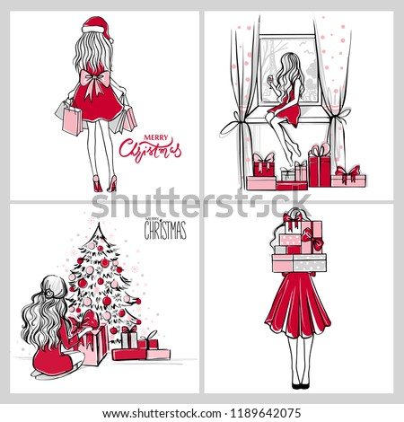 Merry Christmas and Happy New Year vector cards. Xmas illustration with girls, gift boxes, christmas tree. Beautiful woman in a festive dress. Christmas design. Fashion sketches.