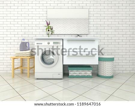 White bathroom with washing machine. 3d illustration #1189647016